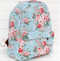 Vintage rose print  preppy style mori girl  backbag student shoulder bag travelling bag  drop shipping
