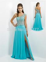 Latest  A-Line Crystals Embellished Chiffon Long Slit Blue One Shoulder Prom Dress