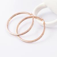 Hot 2015 Women New Fashion Svarovski Cystal Big Hoop Earrings 18K Rose Gold / Silver/ Gold Filled Stainless Steel Round Earrings