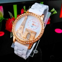 2015 new hot sell Ceramics wristwatch fashion 3D Eiffel Tower watch Quartz Girl Women Student Watches