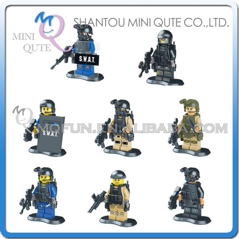 Mini Qute LELE 8pcs/set CS SWAT Police station plastic boys kids models building blocks action figures educational toy NO.78057(China (Mainland))