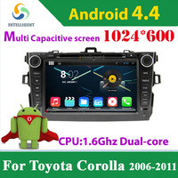 For Toyota Corolla 2006-2011 Android 4.4 2 Din Car DVD player with1024*600 Capacitive screen WIFI 3G GPS USB Bluetooth Car radio