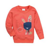 BTT-13, Rabbit, Children girls T Shirts, 100% Cotton micro terry long sleeve tee for 1-6 year.