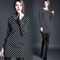 Free ship 2015 spring white beading turn-down collar polka dot print slim long-sleeve women ladies casual dress wholesale va1904