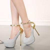 2015 Cheap Fashion Round Closed Toe Patchwork Buckle Design Stiletto Super High Heel Ankle Strap Pumps