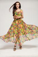 2015 new fashion Spring Summer Print Floral o-neck sleeveless  Women Party Flower Dresses Sexy Bohemia Chiffon Beach Long Dress