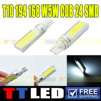 Free Shipping!! 4PCS/lot T10 194 168 W5W COB 24 SMD 24 LED White Led Lighting Bulbs Fog Light Signal Parking Lights #TB118