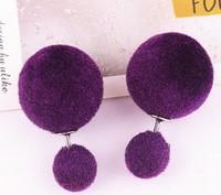 LR171 Hottest Sale 19Colors Korea Design Hairball resin Earrings Women Earrings Jewelry Stud Crystal Earrings