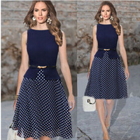 2015 European and American Hot Sleeveless Polka Dot Dress with Belt