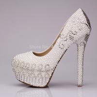 Elegant Pearls White High Heel Wedding Shoes 14cm Platform Bride Dress Shoes Size 35-39 Crystal Pumps Drop Shipping