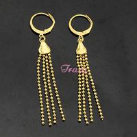 Womens Girls 18k Yellow Gold Filled Drop Earrings Beads Dangle Earrings