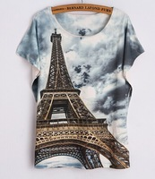 Bob shop 2015 Shirt Short Sleeve Eiffel Tower Print Women Tops T Shirt Casual Patchwork Top Shirt Women Camisetas Manga tshirts