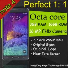 New arrive Perfect 1:1 HDC Note 4 Mobile phone 16GB ROM 3GB RAM MTK6592 Octa Core Note4 Smart Phone 5.7″ 2560*1440 13MP camera