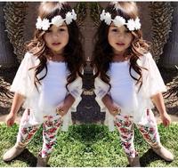 Summer new Children girls black sleeveless shirt+floral pants+headband 3pcs clothing sets kdis baby clothes set suits 7 set/lot