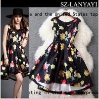 2015 Spring Summer Fashion Print Flower Asymmetrical Dresses Novelty Dress(High Quality)