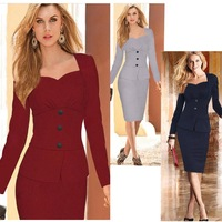 2015 Limited Polyester Cotton Full New Women Winter Workwear Office Dress Formal Clothing Bodycon Dresses Elegant Party C309
