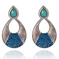 LR172 CZ Earrings - crystal earrings female Elegent Gold water drop Enamel Shape Long Drop Earrings