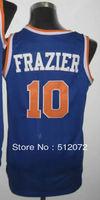 New York #10 Walt Frazier Men's Authentic Hardwood Classics Throwback Road Blue Basketball Jersey