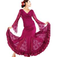 Red purple Women Lady Black Performance Competition Standard Ballroom Dance  Dress For Ballroom Dancing flamenco waltz dress