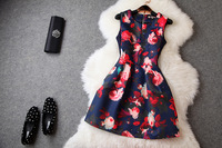 Size S-XL Women Fashion Vintage A Line Empire Waist Sleeveless Tank Dress Free Shipping 80282