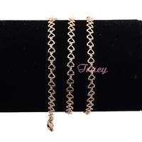 4mm Women Girls 18K Heart Chains Rose Gold Filled Necklace Short Thin