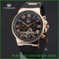 2015 Forsining Men's wrist watch with gift box JARAGAR Luxury Auto Mechanical Watches 4 Hands Date Tourbillon Mens Free Ship