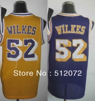Los Angeles #52 Jamaal Wilkes Men's Authentic Hardwood Classics Throwback Home Yellow/Road Purple Basketball Jersey