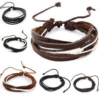 2015 New Multi Layer Leather Bracelets Bangles for Men Jewelry Fashion Pulseira Masculina Ethnic Pulseras Bijoux Accessories