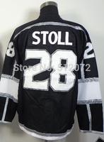 Los Angeles #28 Jarret Stoll Men's Authentic Home Black Hockey Jersey
