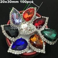20x30mm Gold Tone FlatBack Rhinestone Buttons Bridal Bouquet Flower Accessory Hair Flower Accessory 1 Row Rhinestone