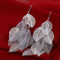 Hollow leafs 925 sterling silver Fashion  big earings Jewelry crystal Drop earrings trendy women earrings Free shipping