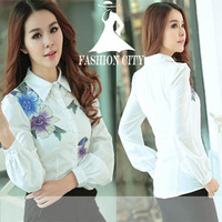 2015 tropical white ladies office shirts Printing chiffon blouse office Puff Sleeve shirt women plus size camisas femininas
