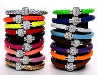 Sham bracelets popular magnet drilling mud pottery fluorescence pu leather cord bracelet LR179