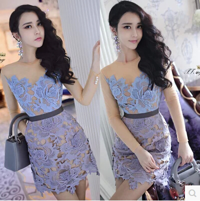Spring 2015 new advanced custom self * portrait with lace applique 3D model women clothes pearl buckle perspective sleeved dress(China (Mainland))