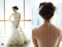 Sexy High Neck Mermaid Wedding Dresses 2015 Bride Vestidos Custom Made Cheap Bridal Gown Vestido De Festa Hot Sale 2015 New