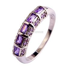 2015 Dreamlike Women Jewelry Purple Amethyst Fashion 925 Silver Ring Size 7 8 9 10 11 12 Wholesale Free Shipping New Style