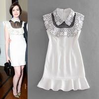 2015 summer women brand designer tank dress runway dresses large size embroidery mermaid mini dress ruffle white