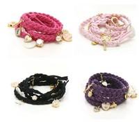 Multi-element love pearl pendant fashion PU leather cord woven bracelet female Bangles LR180