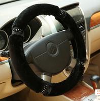 New Warm winter autumn car steering wheel cover steering wheel hubs red balck begin Rhinestone Fur diameter 38CM general model