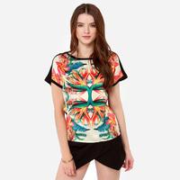 2015 spring summer tops ropical plants bird Digital mirrored Hibiscus patchwork Knit back short sleeve women t-shirts J1092