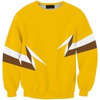 Sws0106  New Arrivai Europe Hot Digital Printing Yellow Lightning O-Neck Pullover Hoodies Sweatshirts 3D