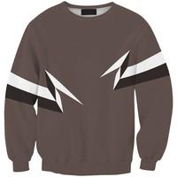 Sws0107  New Arrivai Europe Hot Digital Printing Gray  Lightning O-Neck Pullover Hoodies Sweatshirts 3D