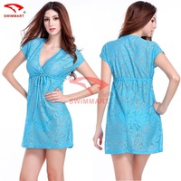 Cover-ups 2015 new perspective of hollow Beach hook flower embroidery dress hollow out deep v sexy bikini women swimsuit