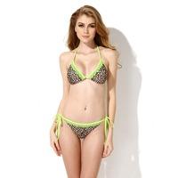 KK-Shop 15114 Women's Sexy Leopard Green Lace Halter Top Bottom Bikini Swimsuit