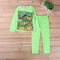 Retail 2015 new children team turtles pajama set kids long sleeve cartoon clothing set toddler baby boys sleepwear/boys homewear