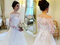 Free Shipping Vestido De Noiva De Renda Com Menga Off Shoulder Long Sleeve Lace Wedding Dress