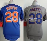 New York #28 Daniel Murphy Men's Authentic Cool Base Alternate Home Blue/Road Grey Baseball Jersey