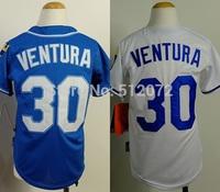 Kansas City #30 Yordano Ventura Kids Youth Authentic Cool Base Alternate Navy/Home White Baseball Jersey