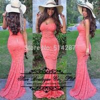 2015 New Arrival Vestidos Sheath Lace Women Prom Dress Long Evening Party Dress