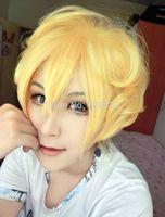 New Sell Karneval Yogi Anime Golden Short Layered Synthetic Hair Cosplay Wig made Kanekalon Hair brazilian no Lace Front Wigs